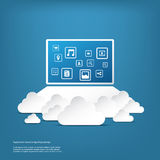Cloud computing business concept with computer and Stock Photos