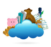 Cloud computing and business concept illustration Stock Photos