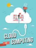 Cloud computing concept. Cloud computing business concept retro illustration. Vector file layered for easy manipulation and custom coloring