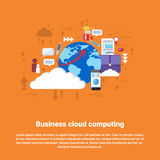 Cloud Computing Business Database Storage Services Web Technology Banner. Flat Vector Illustration Royalty Free Stock Image