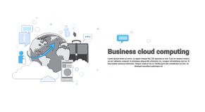 Cloud Computing Business Database Storage Services Web Technology Banner. Vector Illustration Royalty Free Stock Photography