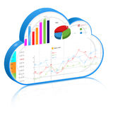 Cloud computing for business process management concept. Blue 3d cloud with business report inside it: spreadsheet and charts . Vector icon, on white background vector illustration