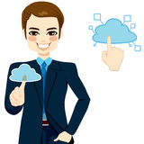 Cloud Computing Businessman Concept. Handsome businessman touching the cloud accessing on-line networking services concept illustration Stock Image