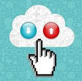 Cloud computing button and cursor hand. Stock Image