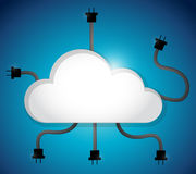 Cloud computing cable connection. illustration Stock Photography