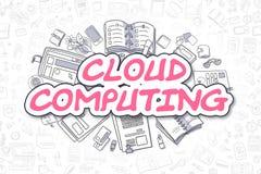 Cloud Computing - Cartoon Magenta Text. Business Concept. Stock Image