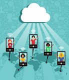 Cloud computing cell phone communication Stock Photography