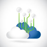 Cloud computing circuit diagram illustration Royalty Free Stock Photography