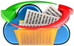 Cloud computing and circulation digital documents. Concept of cloud computing and circulation digital documents as is blue glossy cloud icon with folder and Royalty Free Stock Photos