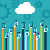 Cloud computing. Cloud icon and hands holding smart phones with web icons on screen vector illustration. Stock Photo
