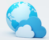 Cloud computing, clouds with blue globe Royalty Free Stock Photo