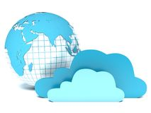 Cloud computing, clouds in front of blue globe Stock Photography