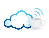 Cloud computing coffee mug concept Royalty Free Stock Photos