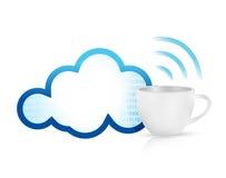 Cloud computing coffee mug concept Royalty Free Stock Photos