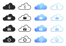 Cloud Computing Collection Set 3. Cloud Computing Icons - Sixteen Illustrations Royalty Free Stock Image
