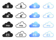 Cloud Computing Collection Set 4. Cloud Computing Icons - Sixteen Illustrations Royalty Free Stock Image