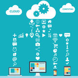 Cloud Computing color vector illustration. Royalty Free Stock Image