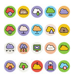 Cloud Computing Colored Vector Icons 4. Cloud computing Vector Icons for your personal files, entertainment, work, music, movies and more. Storage is now in the royalty free stock images