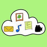 Cloud computing in colorful doodle style Stock Photos