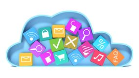Cloud computing and colorful icons Royalty Free Stock Photo