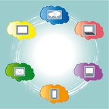 Cloud Computing. With coloured clouds Royalty Free Stock Image