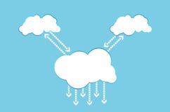 Cloud computing communication. Arrows business cell client cloud communicate communication stock illustration