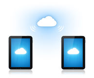 Cloud Computing Communication. Communication between two mobile phone via cloud computing connection. Conceptual illustration. Isolated on white Stock Photography