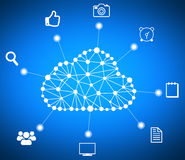 Cloud computing computer data and icons around. Stock Photography