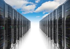 Cloud computing and computer networking concept. Rows of network servers against blue sky with clouds on white background Royalty Free Stock Photo