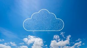 Free Cloud Computing Computer Technology Icon With Circuit Board Pattern Texture Isolated On Blue Sky. High-tech Background In Digital Stock Images - 127887204