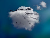 Cloud Computing concept. In a blue background Royalty Free Stock Photo
