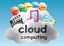 Cloud computing concept. Based on the idea of the abstract location of data and abstract computing somewhere in the clouds Royalty Free Stock Photo