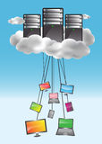 Cloud computing concept. With data servers and connected computers, notbooks, smartphones, netbooks. Colorful illustration stock illustration