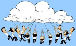 Cloud computing concept. People connection with cloud royalty free illustration
