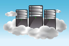 Cloud computing concept. With servers in the clouds. Vector illustration vector illustration