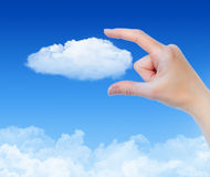 Cloud Computing Concept. Woman hand measures the cloud against blue sky with clouds. Concept image on cloud computing and eco theme Stock Image