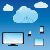 Cloud Computing Concept. Typical modern communication devices are connected to data located in the cloud Stock Image