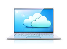 Cloud computing concept. Vector illustration of cloud computing concept with modern laptop and blue internet clouds icon Royalty Free Stock Images