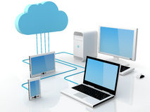 Cloud computing concept. Home Electronic Devices connected to cloud server. Note: All Devices design and all screen interface graphics in this series are