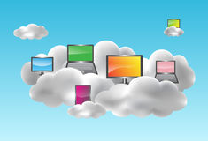 Cloud computing concept. Cloud computing with desktops, notebooks, smartphones and netbooks on the clouds. Vector illustration vector illustration