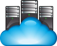Cloud computing concept. Cloud server. Vector illustration of cloud computing concept with servers in the cloud royalty free illustration