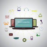 Cloud computing concept. Colorful Cloud Computing Concept Design with IT Devices - Illustration in Freely Scalable & Editable Vector Format Stock Photography