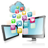 Cloud Computing Concept. Cloud with Tablet PC, Full HD Monitor and application icons, vector illustration Royalty Free Stock Photography