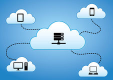 Cloud Computing Concept. Cloud Connected to various devices like Smart Phone, Laptop, Tablet, PC & Data Base Stock Photos