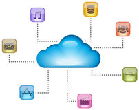 Cloud computing concept. Illustrated with multimedia, mail, apps, database, social icons. Vector illustration Stock Photos