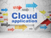 Cloud computing concept: arrow with Cloud Application on grunge wall background. Cloud computing concept:  arrow with Cloud Application on grunge textured Royalty Free Stock Photos