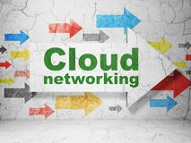 Cloud computing concept: arrow with Cloud Networking on grunge wall background. Cloud computing concept:  arrow with Cloud Networking on grunge textured concrete Royalty Free Stock Images