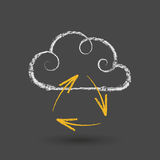 Cloud Computing Concept With Arrows Chalk Drawing. Hand drawn cloud computing concept with arrows on chalkboard. EPS 10 file Royalty Free Stock Photos