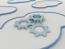Cloud Computing Concept Background with Cogwheels Stock Images