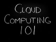 Cloud computing 101. Concept on blackboard stock photos